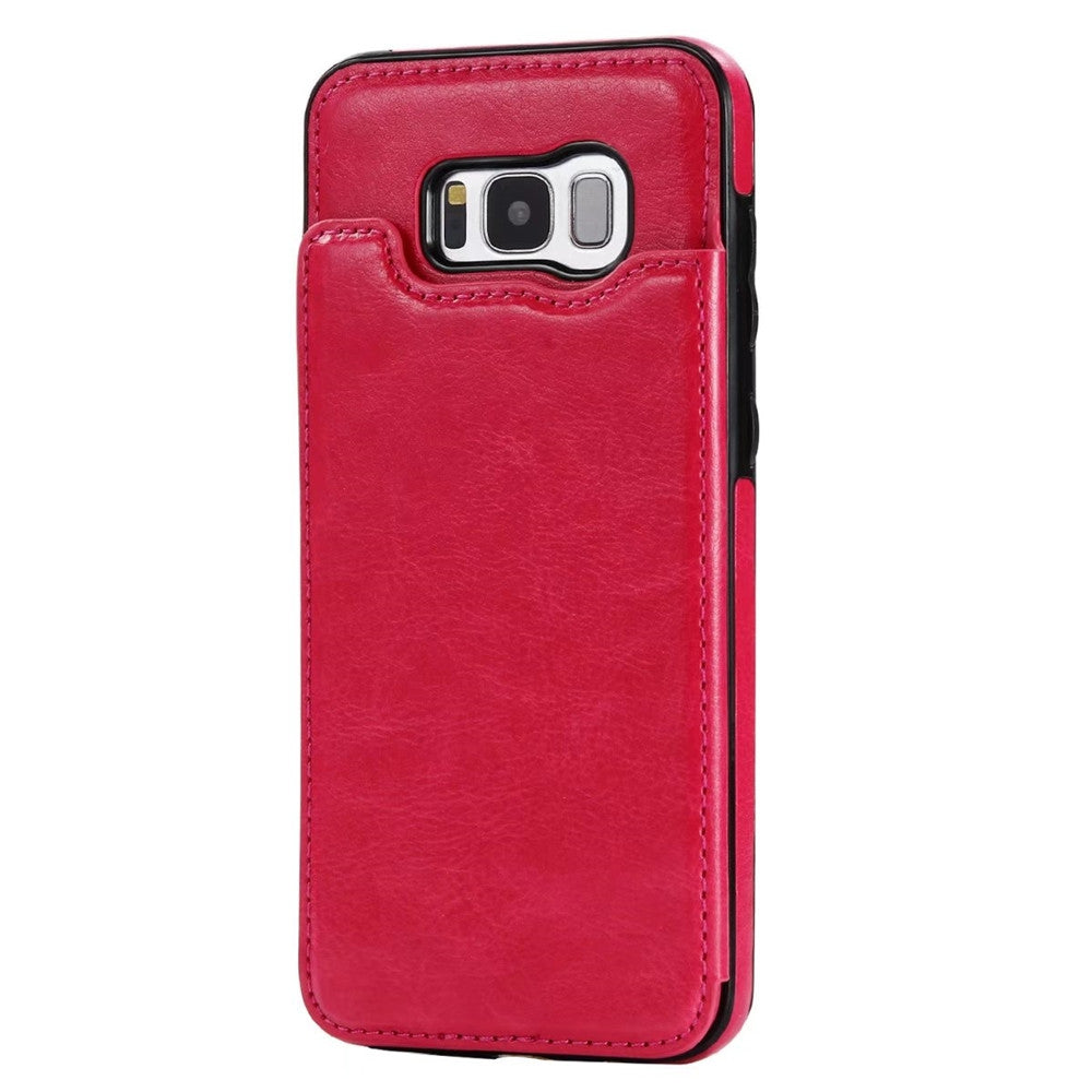 Case for Samsung Galaxy S8 Card Holder with Stand Back Cover Solid Color Hard PU LeatherROSE RED