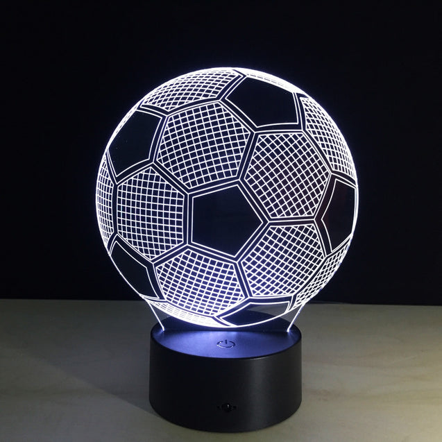 Coupcou.com: Yeduo New Creative Football Shape 3D Illusion Night Light 7COLORS Changeable for Bedroom Decoration