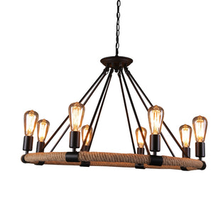 Coupcou.com: Northern American Art Ancient Wrought Iron Industrial Hemp Rope Chandelier