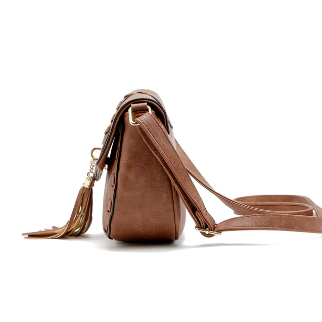 Coupcou.com: Solid Color Tassels Knitted Saddle Crossbody Bag