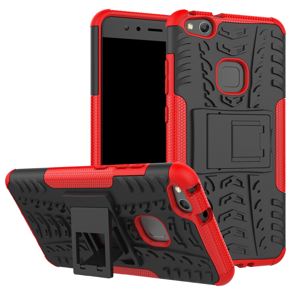 Double Protections Phone Bracket Anti-drop Bumper Relief Case Back Cover Protector for HUAWEI P1...RED