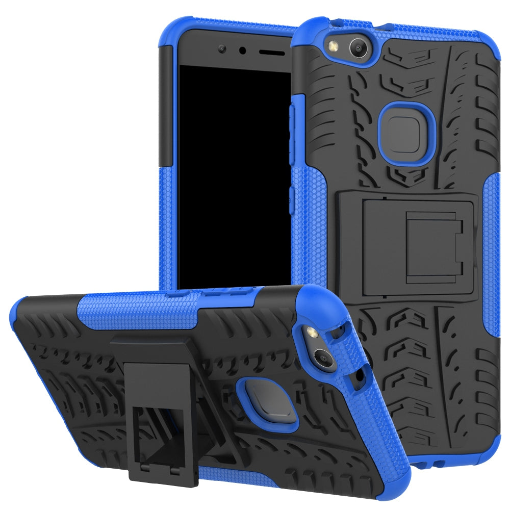 Double Protections Phone Bracket Anti-drop Bumper Relief Case Back Cover Protector for HUAWEI P1...DEEP BLUE