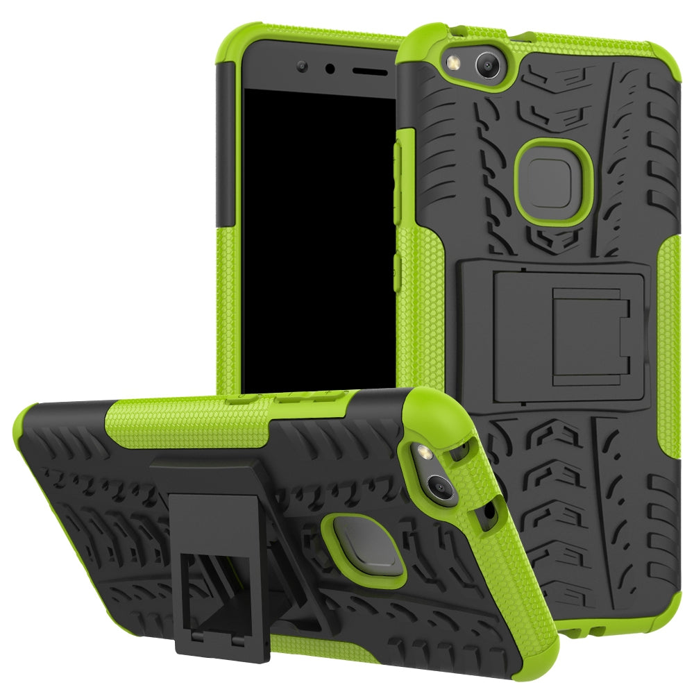 Double Protections Phone Bracket Anti-drop Bumper Relief Case Back Cover Protector for HUAWEI P1...GREEN