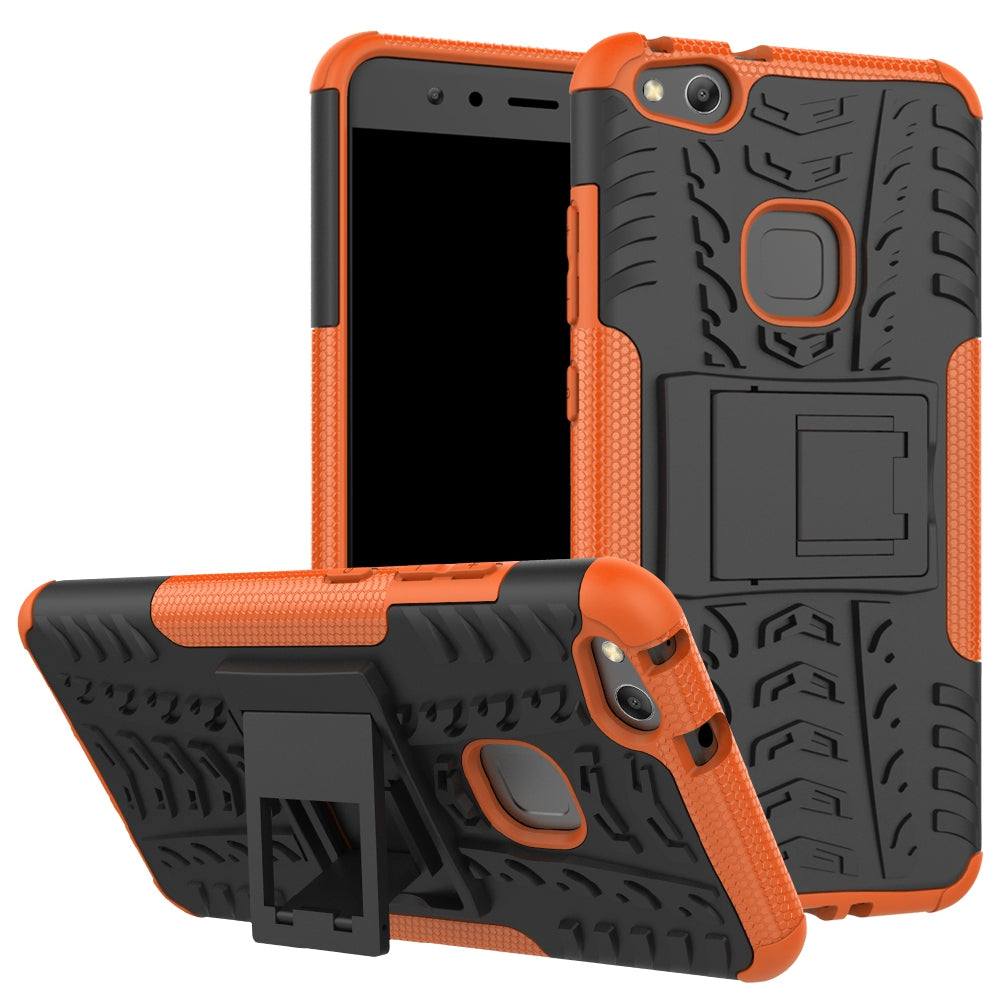 Double Protections Phone Bracket Anti-drop Bumper Relief Case Back Cover Protector for HUAWEI P1...ORANGE