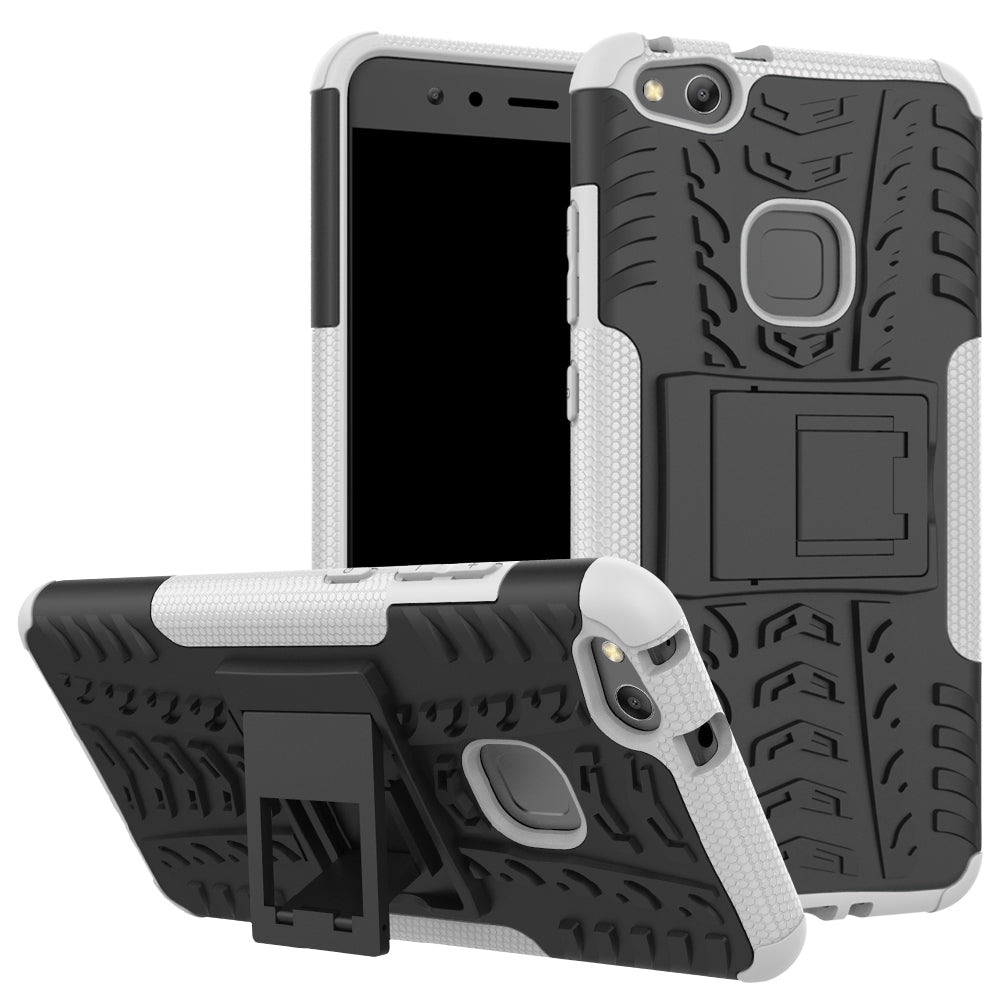 Double Protections Phone Bracket Anti-drop Bumper Relief Case Back Cover Protector for HUAWEI P1...GRAY