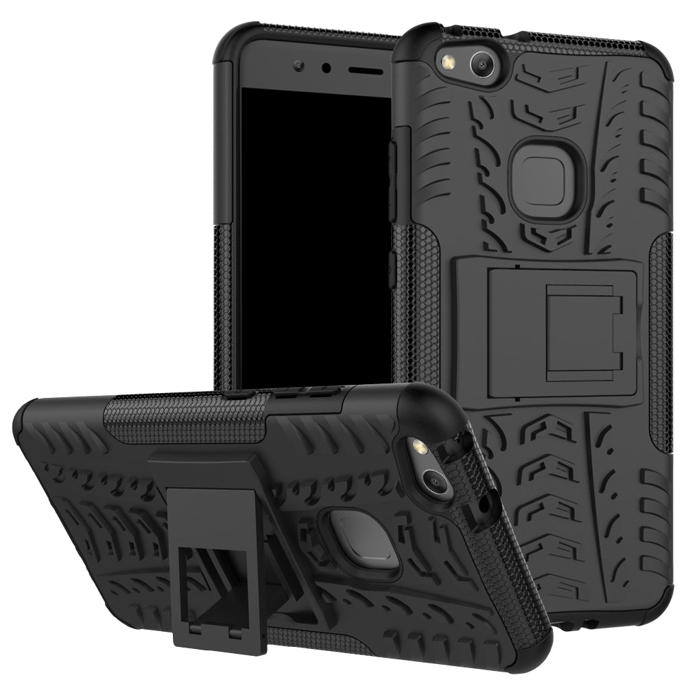 Double Protections Phone Bracket Anti-drop Bumper Relief Case Back Cover Protector for HUAWEI P1...BLACK