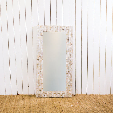 White 60 x 120 Chip Block CAH Mirror