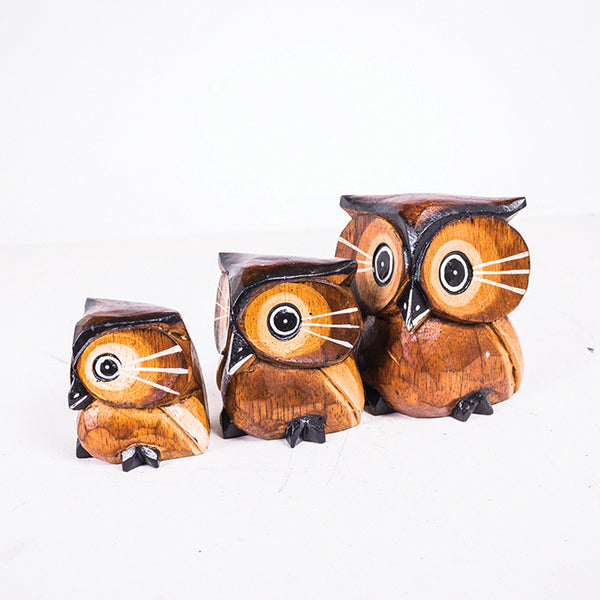 12cm Owl Round Set of 3