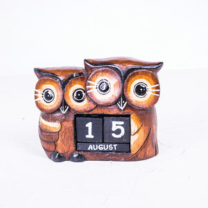 Owl Mom & Child Carved Date Block