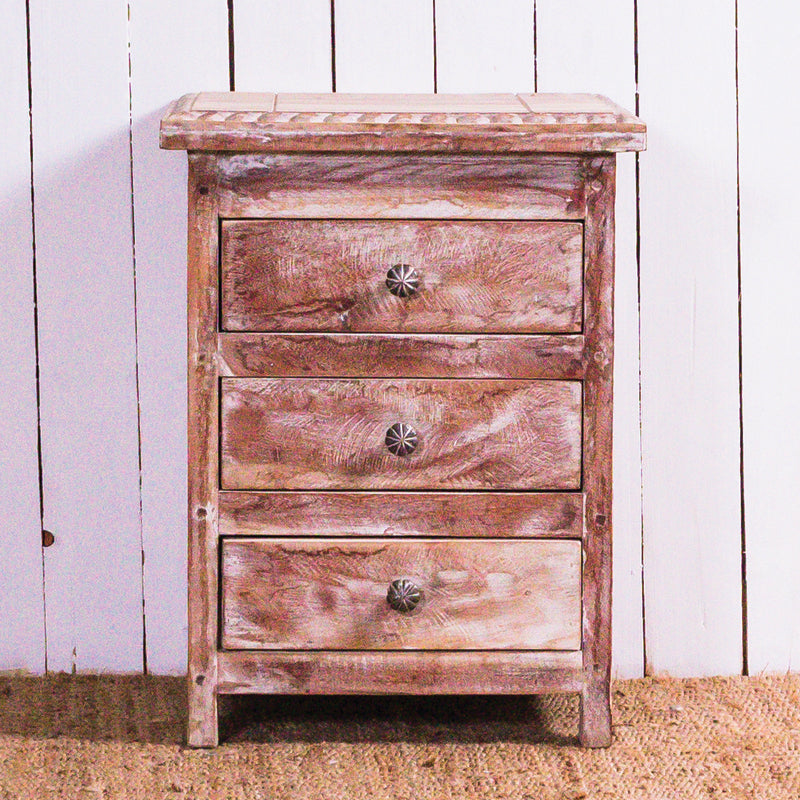 White Wash 3 Drawer Bedside Table