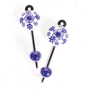 Round Single Tile Hanger Flower & Leaf Blue