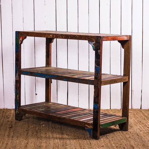 Recycled 3 Shelf Slat Console Table