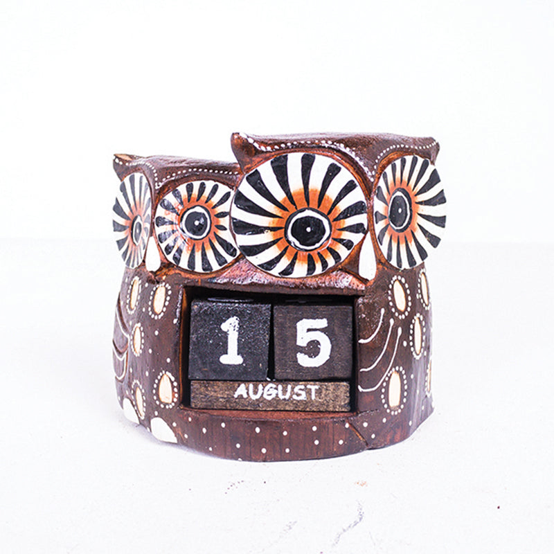 Double Owl Painted Date Block