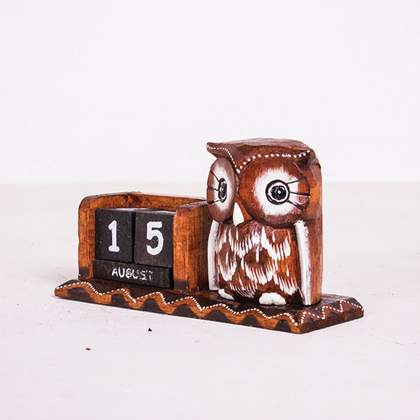 Small Owl Date Block Flat Wood