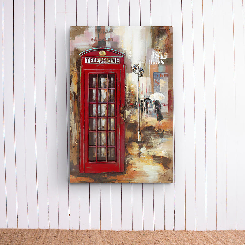 Red Telephone Booth Metal Frame