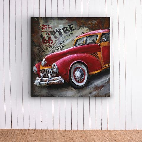 Red Vintage Car Metal Frame