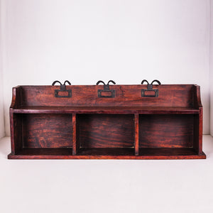 Wooden Hanger & Hooks Shelf