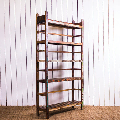 Wooden Rack 5 Shelf Slat Book Case