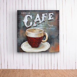 Red Coffee Cup Metal Frame