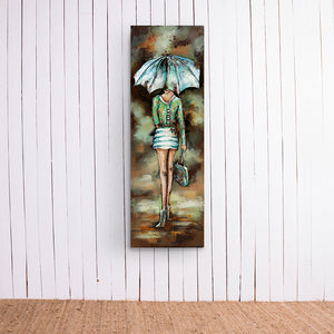 Woman Under Umbrella Metal Frame