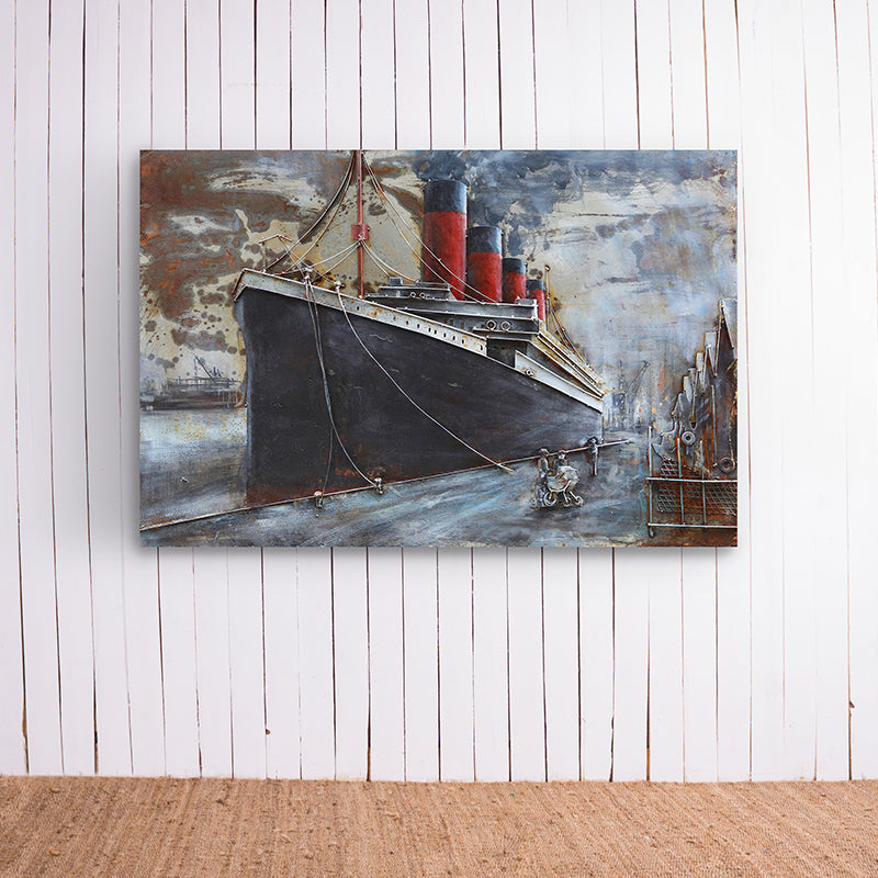 Ship In Port Metal Frame