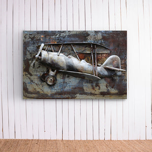 Old Plane With Map Metal Frame
