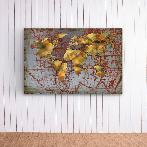 World Atlas Metal Frame
