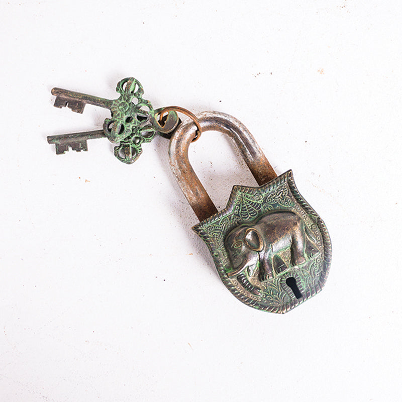 Elephant Green Brass Rustic Lock