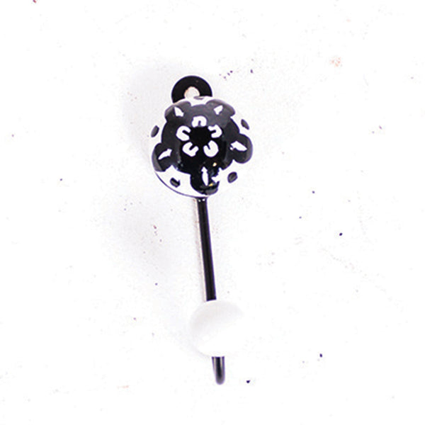 Round Single Tile Hanger Black Diamond Flower