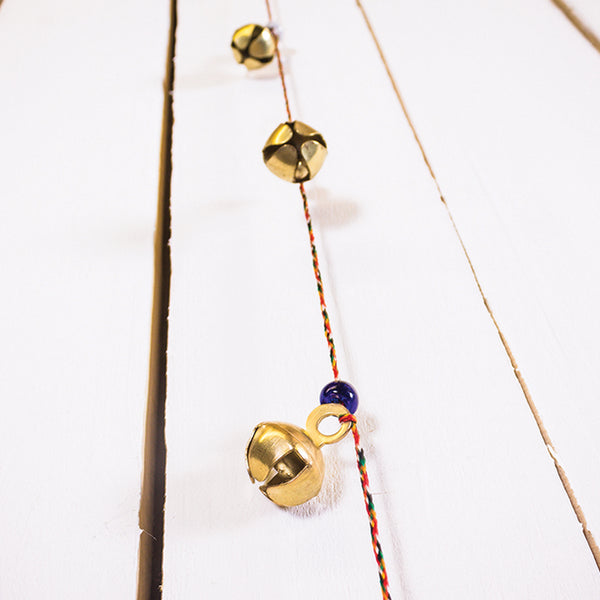 10 Small Bead And Bell On String