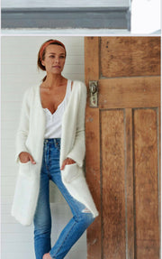 Angora Blend Open V-Neck Cardi-Coat