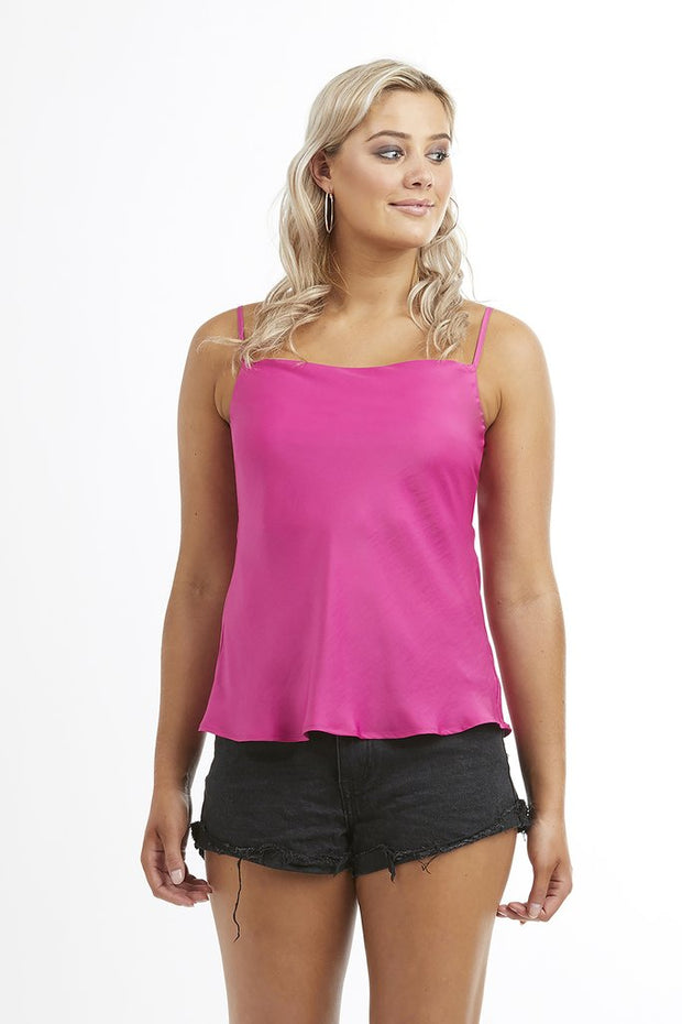 Hot Pink Vacation Cowl Neck Cami