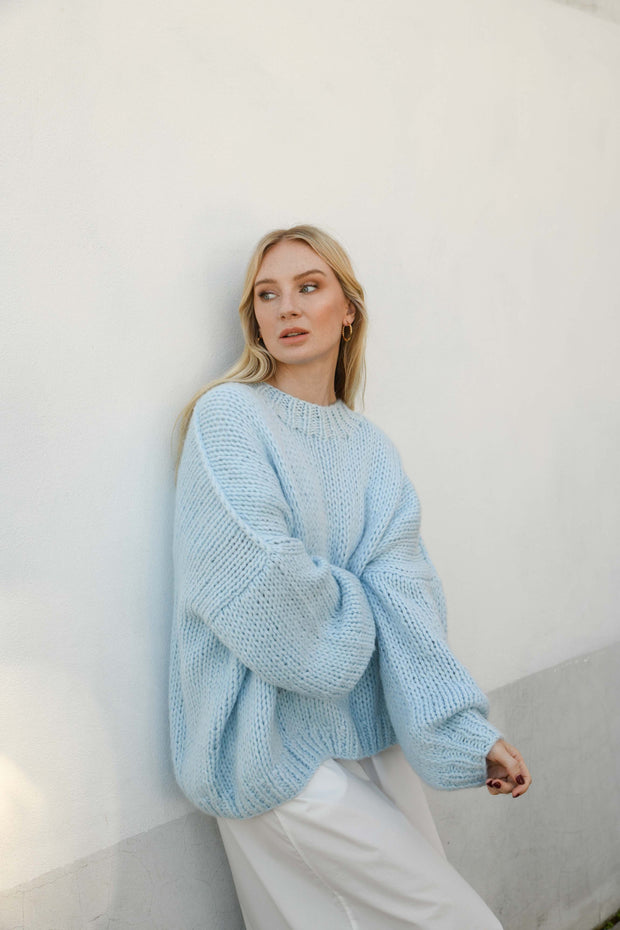 OVERSIZED MERINO WOOL JUMPER -PEARL/PINK/BLUE