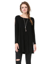 Alisa Pan Simple Fashion Round Neck Long Sleeve T-Shirt-Black 2