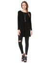 Alisa Pan Simple Fashion Round Neck Long Sleeve T-Shirt-Black 1