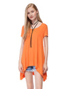 Alisapan Simple Fashion Round Neck Short Sleeve T-Shirt-Orange 1