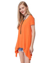 Alisapan Simple Fashion Round Neck Short Sleeve T-Shirt-Orange 3