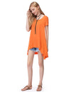 Alisapan Simple Fashion Round Neck Short Sleeve T-Shirt-Orange 4