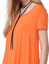 Alisapan Simple Fashion Round Neck Short Sleeve T-Shirt-Orange 5