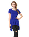 Alisapan Simple Fashion Round Neck Short Sleeve T-Shirt-Sapphire Blue 1