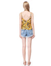 Women'S Simple Fashion V-Neck Floral Printed Casual Top-Yellow 4