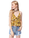 Women'S Simple Fashion V-Neck Floral Printed Casual Top-Yellow 1
