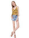Women'S Simple Fashion V-Neck Floral Printed Casual Top-Yellow 5