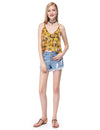 Women'S Simple Fashion V-Neck Floral Printed Casual Top-Yellow 3