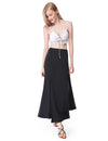 Women'S Simple Decent Solid Casual Slit Skirt-Black 3