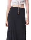 Women'S Simple Decent Solid Casual Slit Skirt-Black 2