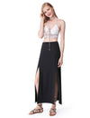 Women'S Simple Decent Solid Casual Slit Skirt-Black 1