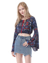 Women'S Simple Fashion Off-The-Shoulder Long Flared Sleeve Printed Top-Navy Blue 3