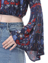Women'S Simple Fashion Off-The-Shoulder Long Flared Sleeve Printed Top-Navy Blue 5