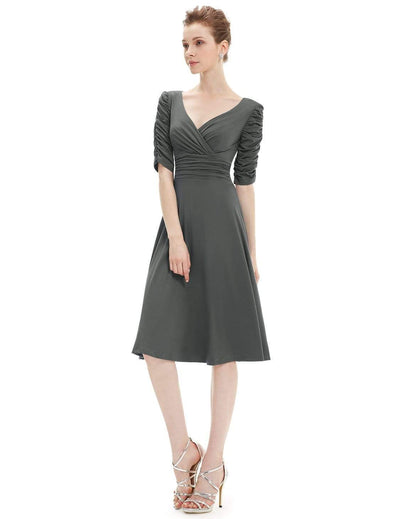 Cocktail Dress with Sleeves & V-Neck